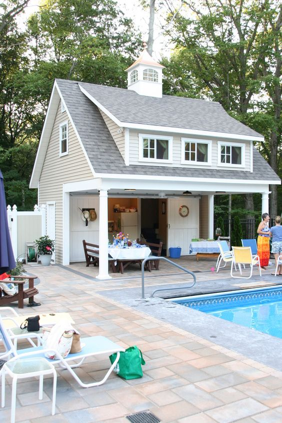 Pool equipment sheds and hideaways infinity pools of for Garage pool house combos